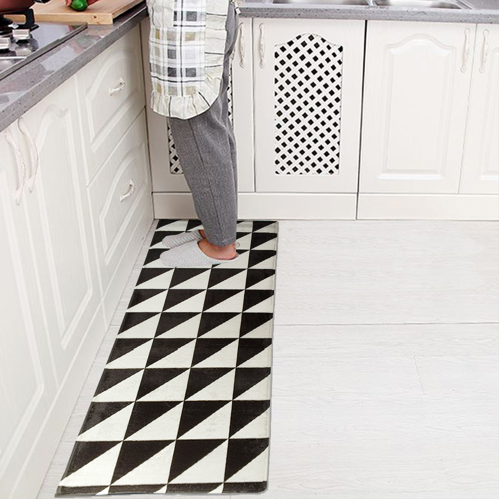 Non Slip Kitchen Floor Mats Yazi Flannel Black And White Kitchen Floor Mat Area Rug Plush Non