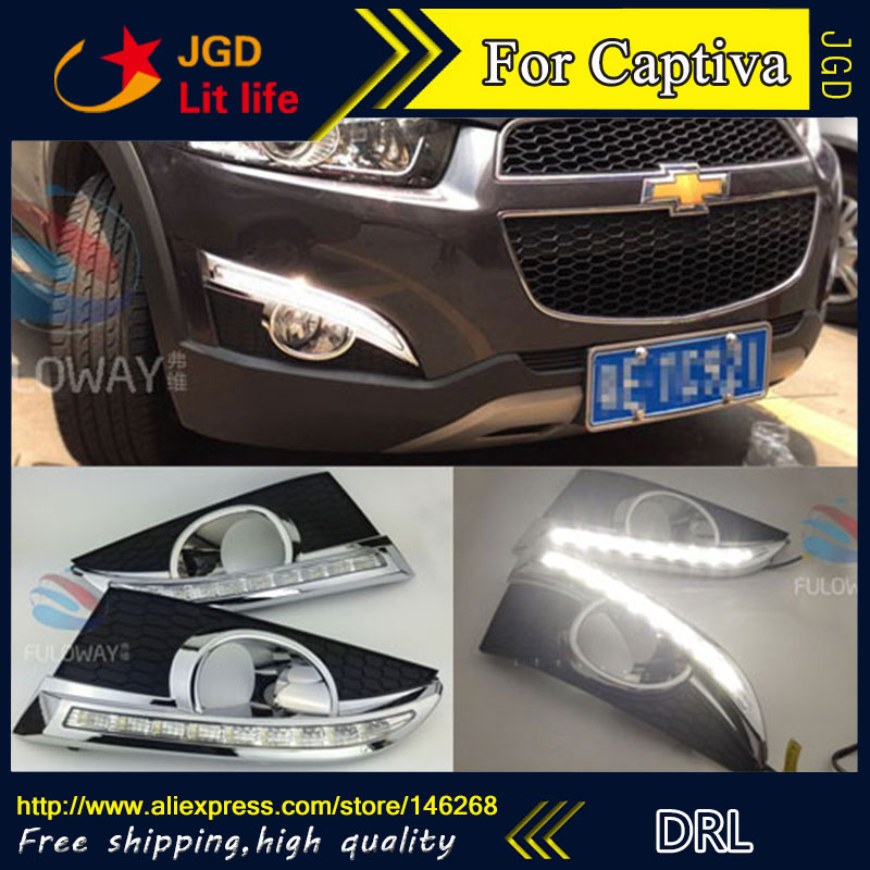 Free shipping ! 12V 6000k LED DRL Daytime running light for Chevrolet Captiva 2011-2013 fog lamp frame Fog light
