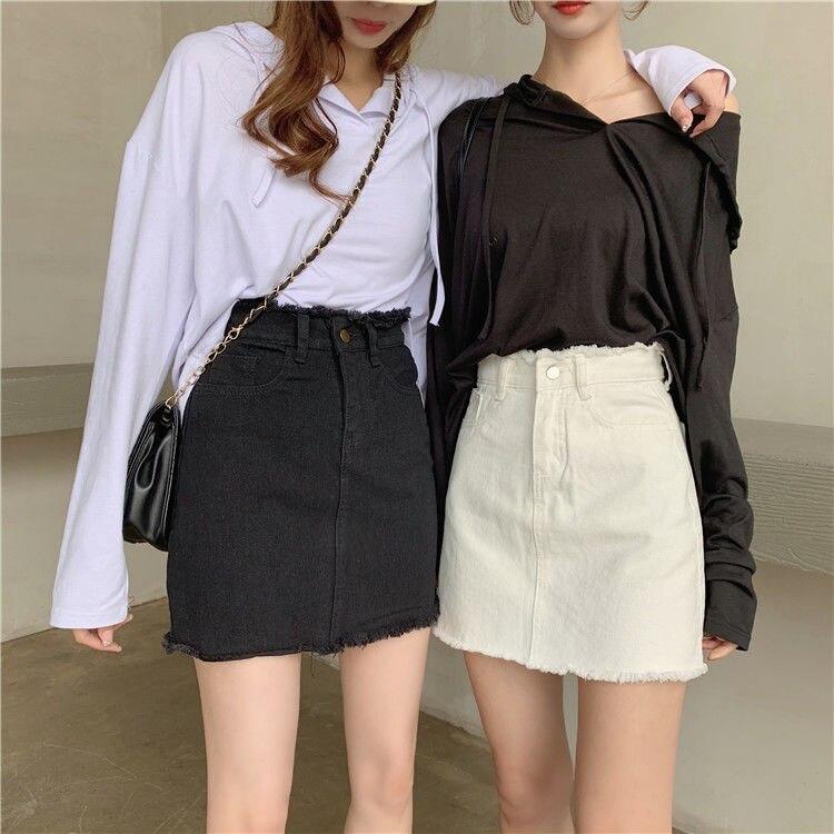 100% Cotton Summer High Waist Women Skirts Student A-line Short Skirt Black White E3225