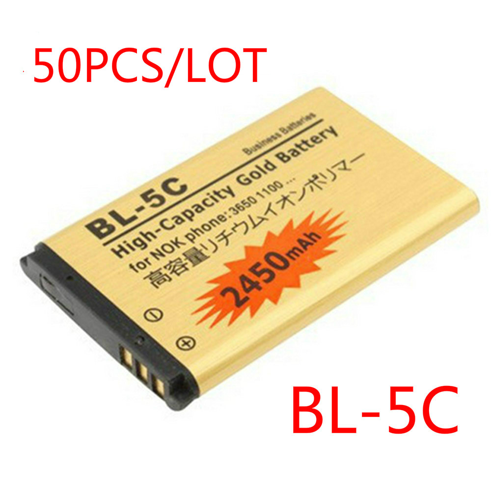 50pcs/lot High Capacity Golden battery BL-5C Battery for Nokia 1000 1010 1100 1108 1110 1111 1112 1116 BATTERY BL5C