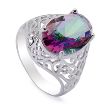 Eulonvan 925 sterling Silver Beautiful Ring Rainbow Mystic Cubic Zirconia cute Jewelry S-3715 sz# 6 7 8 9 Treasurer recommended