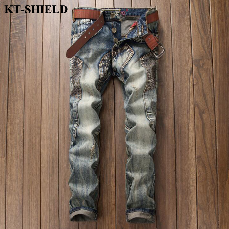 New design vintage fashion jeans men brand ripped  biker denim pants slim fit men trousers cotton hip hop casual Jeans homme 2017 fashion patch jeans men slim straight denim jeans ripped trousers new famous brand biker jeans logo mens zipper jeans 604