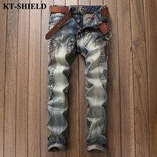 Новый дизайн винтажной моды джинсы мужчины марка ripped байкер дёинсовой брюки slim fit мужчины брюки хлопок hip hop случайные Джинсы homme