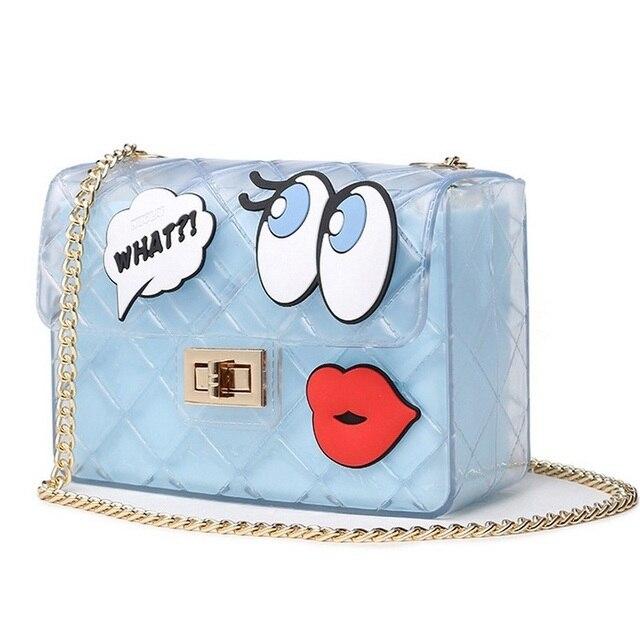 052cdb35ae Summer Girls Big Eye Lips Print Transparent Jelly Bag Women Chain Silicon  Flap Bag Lady Candy Boutique Tote Crossbody Bags Bolsa