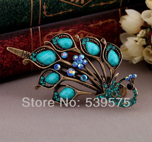 Fashion Wholesale Jewelry Store Shijie 02 New Fashion Vintage Exaggerated Peacock Hairwear Wholesale
