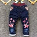 2016 Nuevo Estilo de La Muchacha Del Muchacho Pantalones Vaqueros de Cintura Elástica Pantalones Rectos bebés y Niños Moda Pantalón de Mezclilla Vaqueros Ocasionales de Invierno gruesa Caliente tendencia