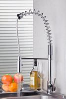 Good Quality Pull Out Chrome Brass Water Kitchen Sink Basin Vessel Deck Mounted Single Handle MF