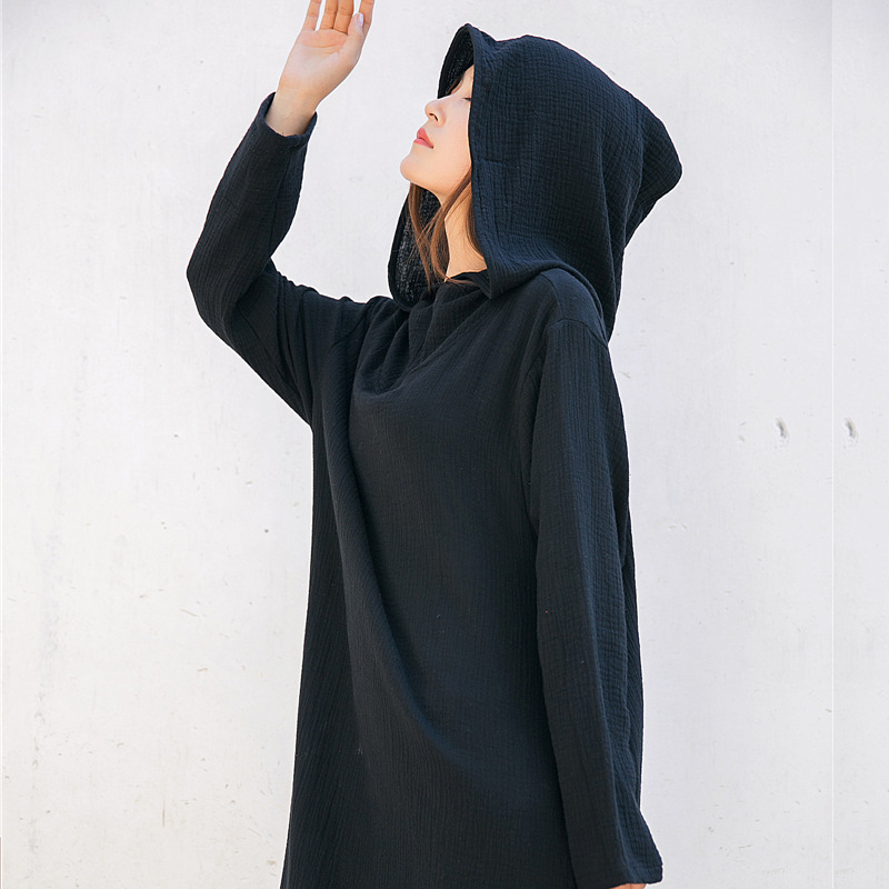 ORIGOODS Hooded Witch Wizard Robe Women Long Dress Spring Autumn Hooded Dress Vintage Solid Red Black Blue White Vestidos D057