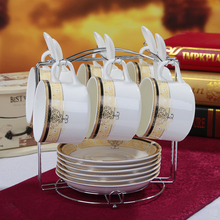 6pcs/set 150 ml Porcelain  coffee cup and saucer coffee set ceramic tea cup and saucer set send The cup holder spoons