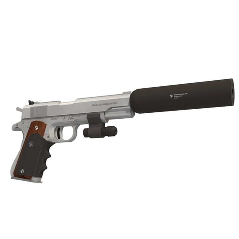 DIY 1:1 Hitman - Silverballer Colt M1911 Pistol Gun Paper Model Assemble Hand Work 3D Puzzle Game Kids Toy