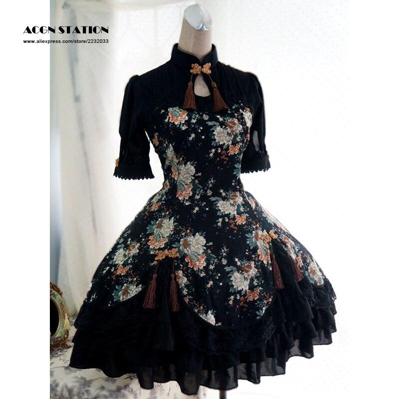 2016 nouvelle robe une pièce en coton noir Qi Lolita manches courtes imprimé pivoine à lacets