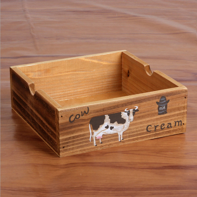 New Arrival Cute Cow Print Wood Storage Box Creative Makeup Organizer  Desktop Sundries Zakka Organizador Wooden