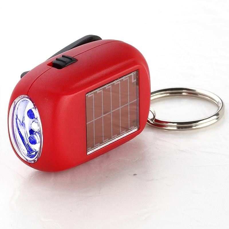 Mini Flashlight Key Household Emergency Lighting Small Flashlight Solar Manual Charging(COLOR RANDOM SEND)