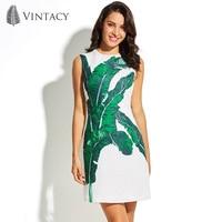 Vintacy Summer Sleeveless Dress White Green Print Floral Palm Leaves Elegant OL Office Dresses Women Plant
