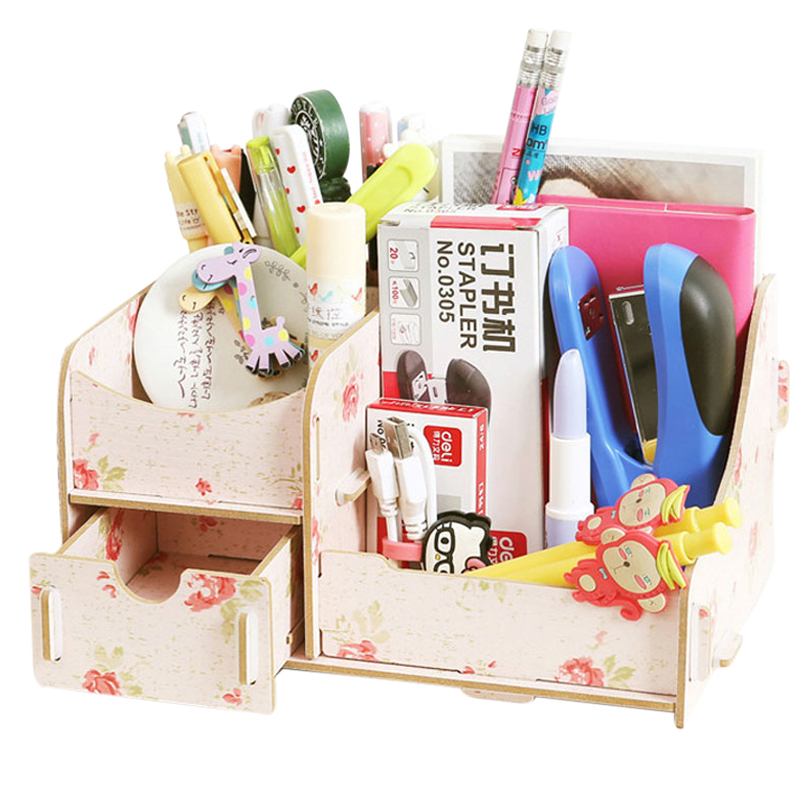 DIY Handmade Wooden Boxes Makeup Organizer Jewelry Storage Box Drawer Container Cosmetic Organizer Rangement Basket For Office