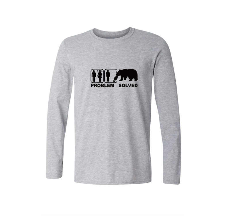 Nieuwe Lente Stijl Probleem Opgelost T-shirt Mannen Casual Lange mouwen Katoenen Tops Tees Grizzly Bear Grappig Gedrukt T-shirt Merk kleding