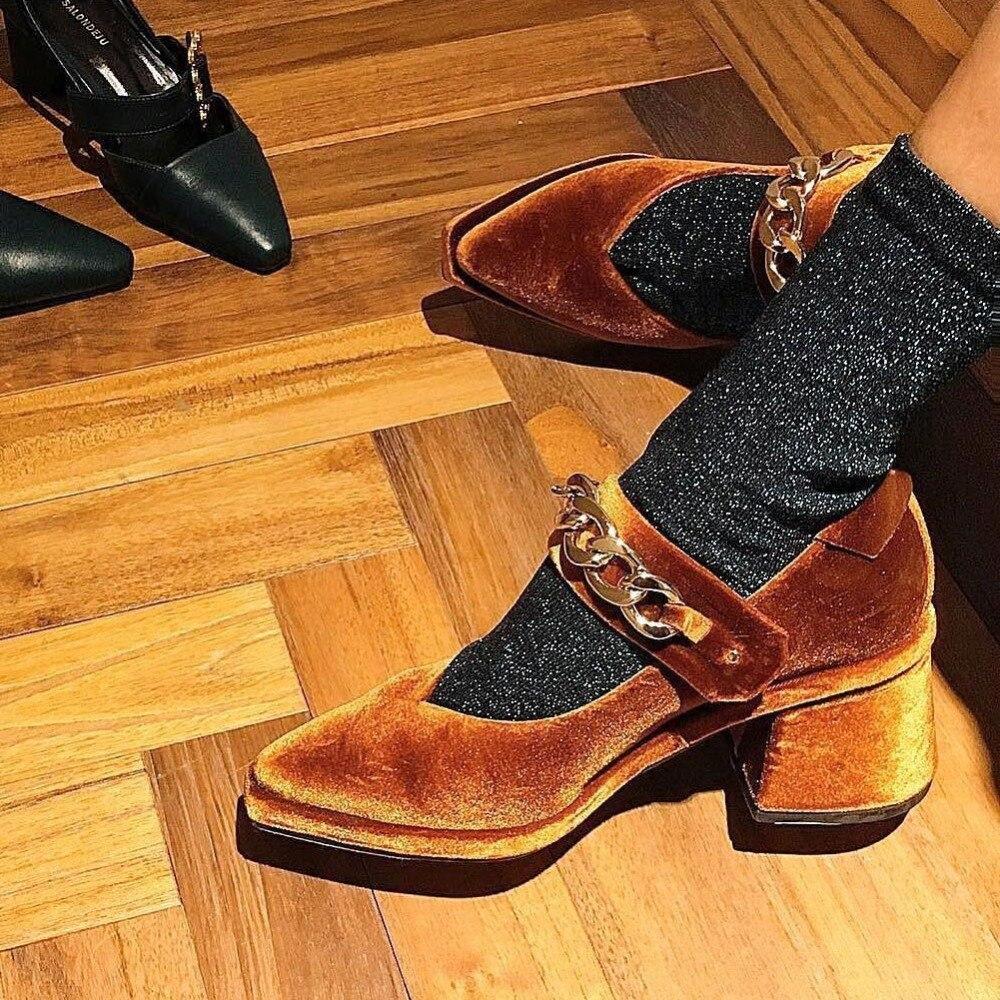 HZXINLIVE Velvet Mary Jane Shoes Chains Decor Pumps Women Shoes Pointed Toe High Heels Pumps Women