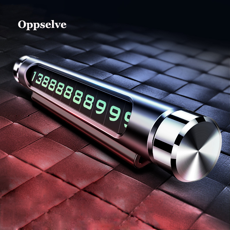 Oppselve Temporary Car Parking Card ABS Telephone Number Card Notification Night Light Car Styling Phone Number Card Holder Pad