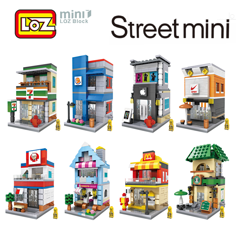 LOZ Mini City Street View Scene Mini Building Blocks Coffee Shop Retail Store Architectures Models & Building Toy legoedly city architecture mini street scene view church library police fire station book store building blocks model sets toys