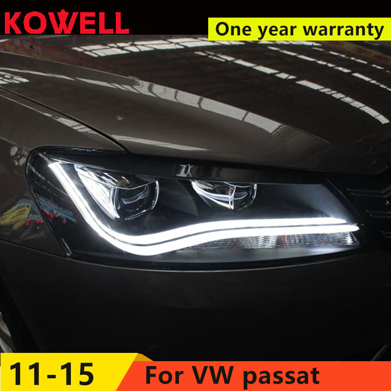 KOWELL Car Styling For VW Passat 2012 2016 LED headlights DRL front Bi Xenon Lens Double