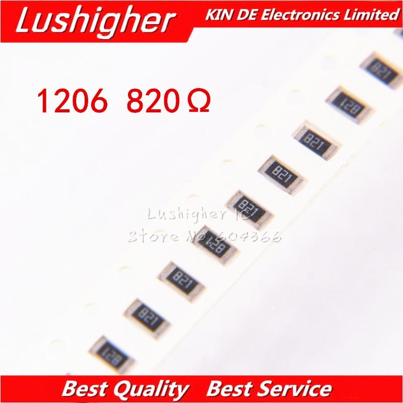 100PCS 1206 SMD Resistor 5% 820ohm 821 820R 820 Ohm