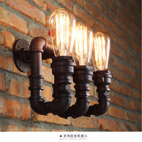 Loft Retro Water Pipe Wall Sconces Bronze Industrial Wall Lamp 3 Head E27 Dining Room Lighting
