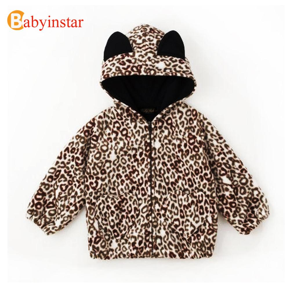 New Spring Children Baby Girls Hooded Coat Kid's Fashion Warm Outerwear Autumn Winter Leopard Down & Parkas For Toddler Girls Aesthetic Appearance