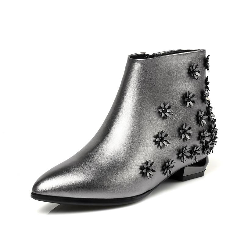 Cuir Femmes Mode or De Smirnova Bottes argent Pour Nouveau Occasionnels Chaussures En Bout Vache Noir Appliques Arrivée Avec D'hiver 2018 Cheville Pointu Iwwx8q6R