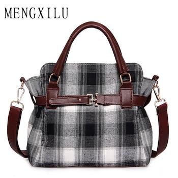 Fashion Lock Canvas Crossbody Bags For Women Messenger Bags Patchwork Ladies Flap Bag High Quality Women Handbags