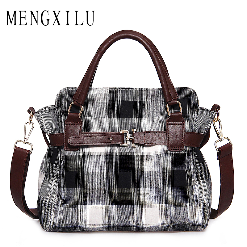 MENGXILU Fashion Lock Canvas Crossbody Bags For Women Messenger Bags Patchwork Ladies Flap Bag High Quality Women Handbags Sac new 2018 classic patchwork flap crossbody bag for female women canvas