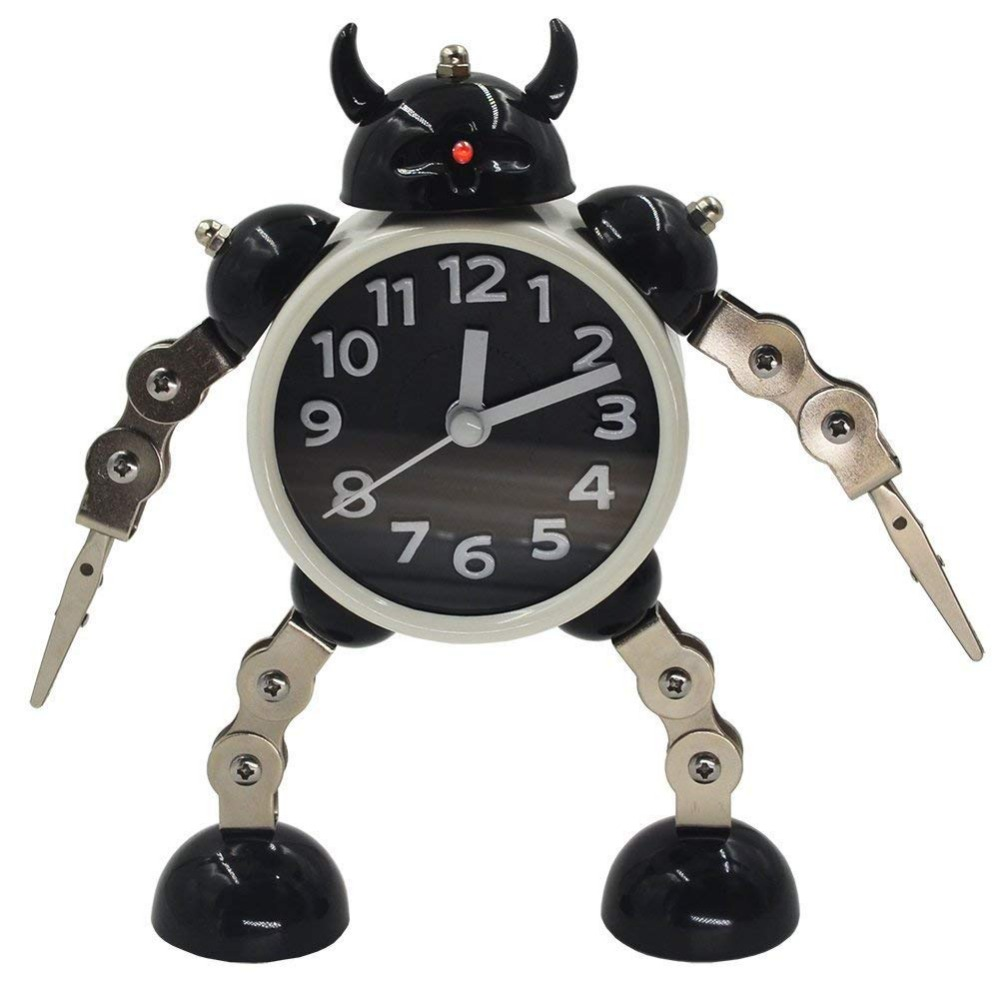 Creative Deformation Kids Alarm Metal Robot Clock Cartoon Anime Table Desktop Watch Wekker Children Christmas Gift