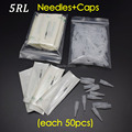 5R (Needles +Tips Each 50pcs )  Professional Permanent Makeup Machine Needles Caps Free Shipping
