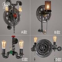 Loft ретро промышленного ветры Настенные светильники часы металлические трубы стимпанк E27 Edison кованого железа Кафе Ресторан Настенные свети
