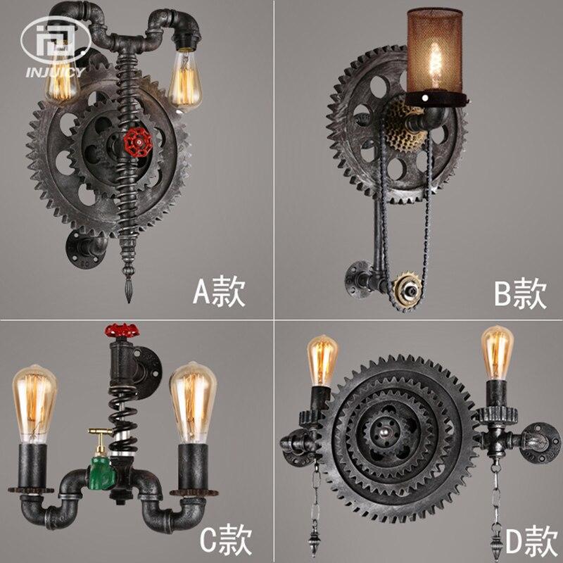 Loft Retro Industrial Winds Wall Lamps Clock Metal Pipes