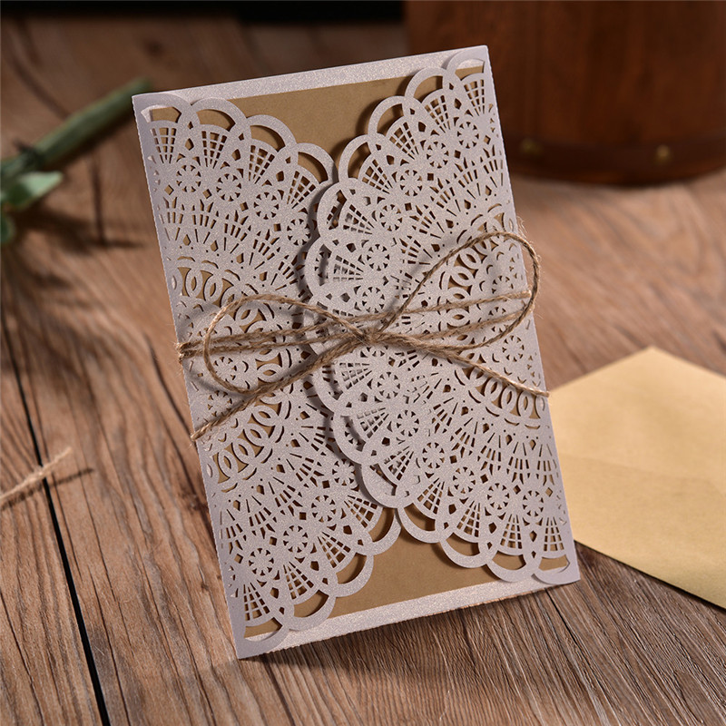 20pcs/lot White Hollow Laser Cut 4 In 1 Wedding Invitations Engagement Wedding Invitation Card With Hemp Ropes Envelope Seals