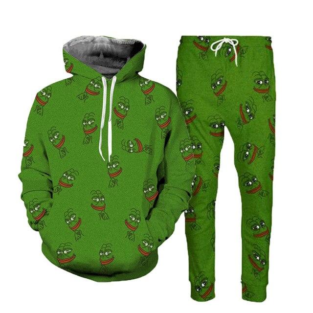 Funny 3D Pepe The Frog Joggers Pants Hoodies Suits Men Women Cartoon Animal Print Spring Thin Unisex Tracksuit Sweatpants Sets