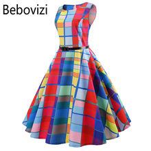 Rainbow Plaid Plus Ukuran Wanita Vintage Gaun Jubah Vestidos Hepburn 50 S Gaun Pesta Kasual Elegan Rockabilly Pin Up Sundress(China)