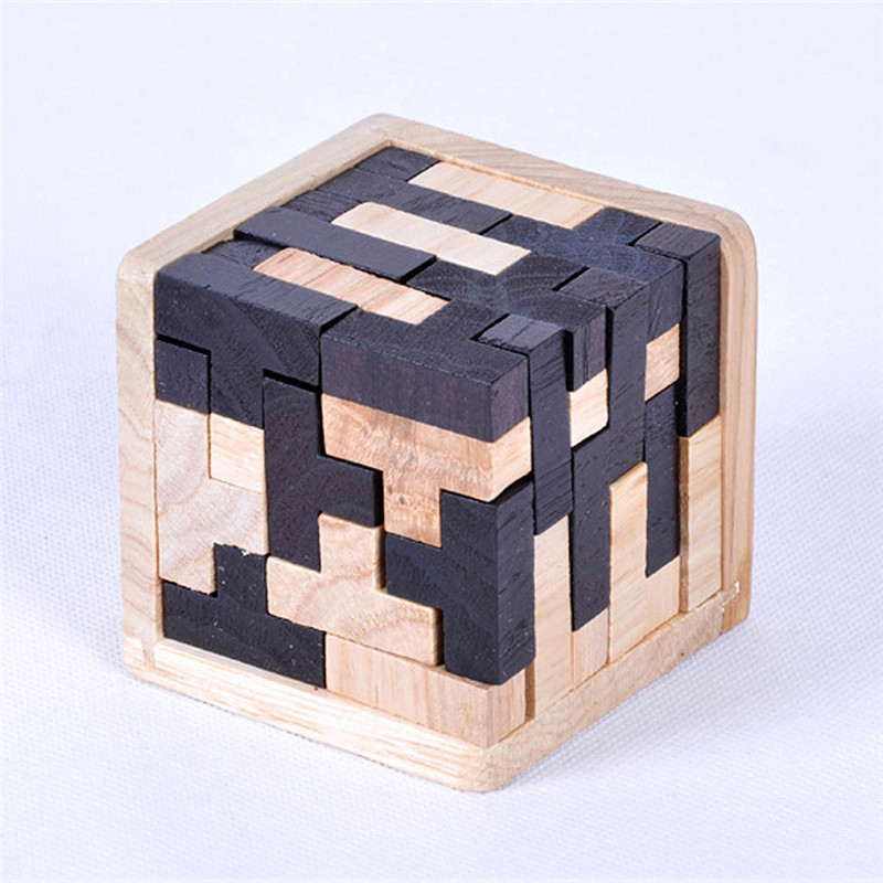 3D Puzzle Interlocking Wooden Cube Toys Kids 1