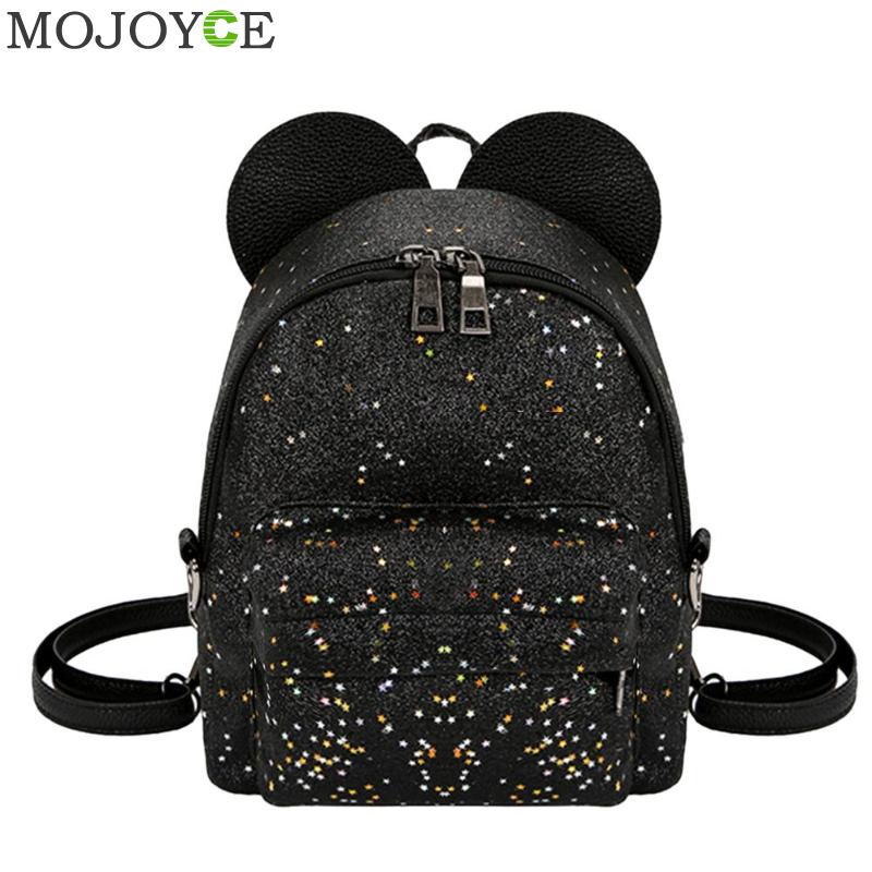 Sequin Shoulder Bag Shining Women Sequins Backpack Teenage Girls Travel Party Mini Schoolbag Casual Bear Ears Princess Rucksack