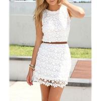 2016 Summer Style Dress Hot Sale White Lace Decoration Sleeveless Sweet O Neck Chiffon Dresses Vestidos