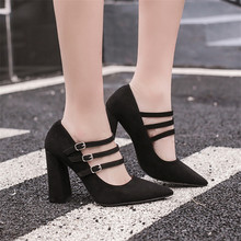 Free shipping spring women's fashion velvet 10cm ultra high heels  brief thick heel pointed toe work shoes