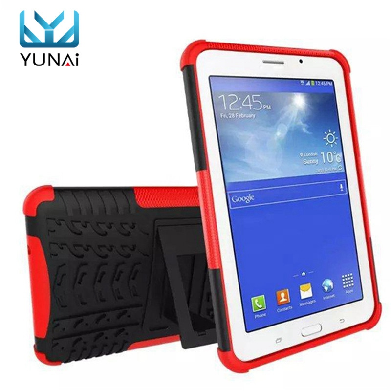 YUNAI Military Shockproof Case Cover Stand Duty For For Samsung For Galaxy Tab E Lite 7.0 T113 Safe Silicone Cover Case For Kid lovemei shockproof gorilla glass metal case for galaxy note4 n9100