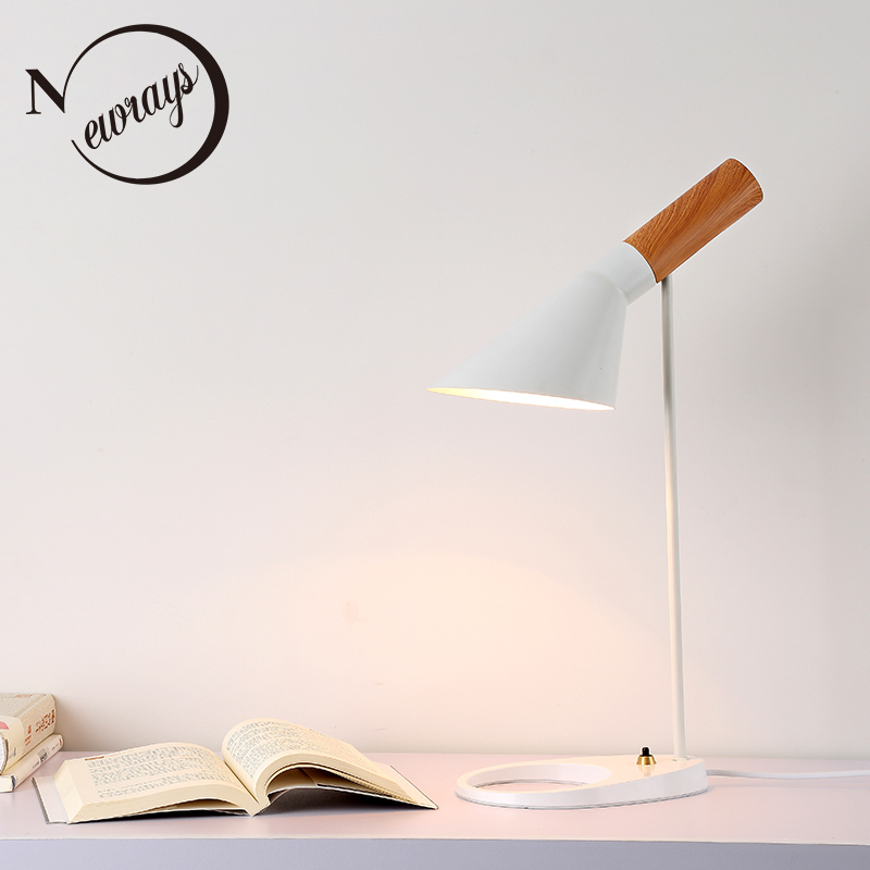 Modern iron painted wood desk light adjustable Iron lampshade E27 table lamp LED light for bedroom restaurant Cafe study 220V