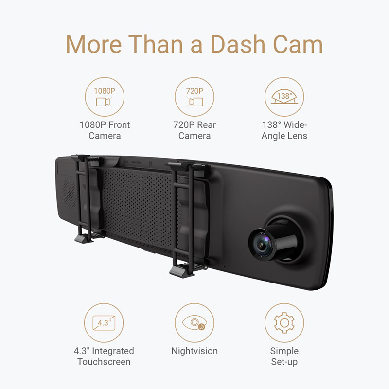 Image result for YI Mirror Dash Cam Dual Dashboard Camera Recorder Touch Screen Front Rear View HD Camera G Sensor Night Vision Parking Monitor
