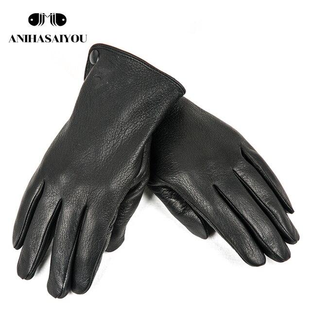 Buckskin men's winter gloves,Simple gloves male,Durable mens leather gloves, winter Genuine leather gloves men -740