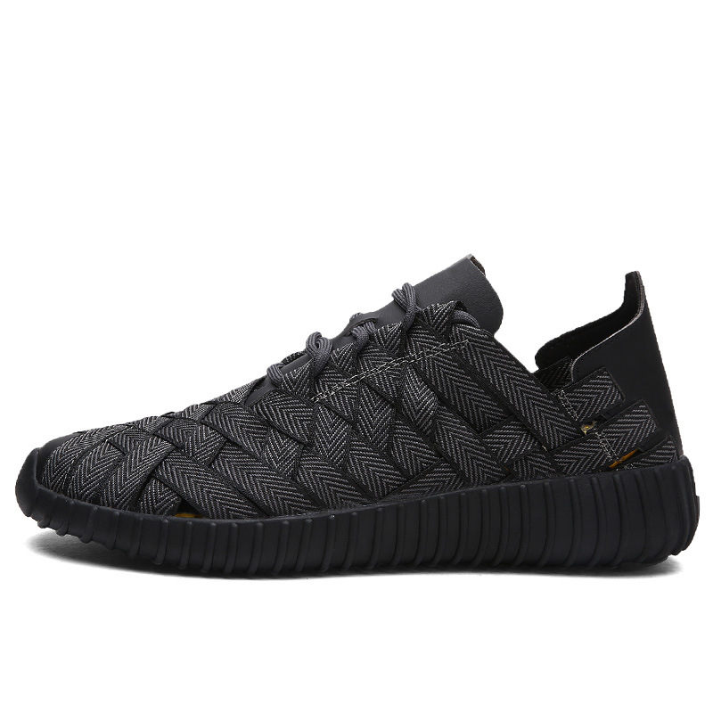 ФОТО Outdoor Summer New Breathable Men's Fashion Men Breathable Flats Shoes Weave Shoes