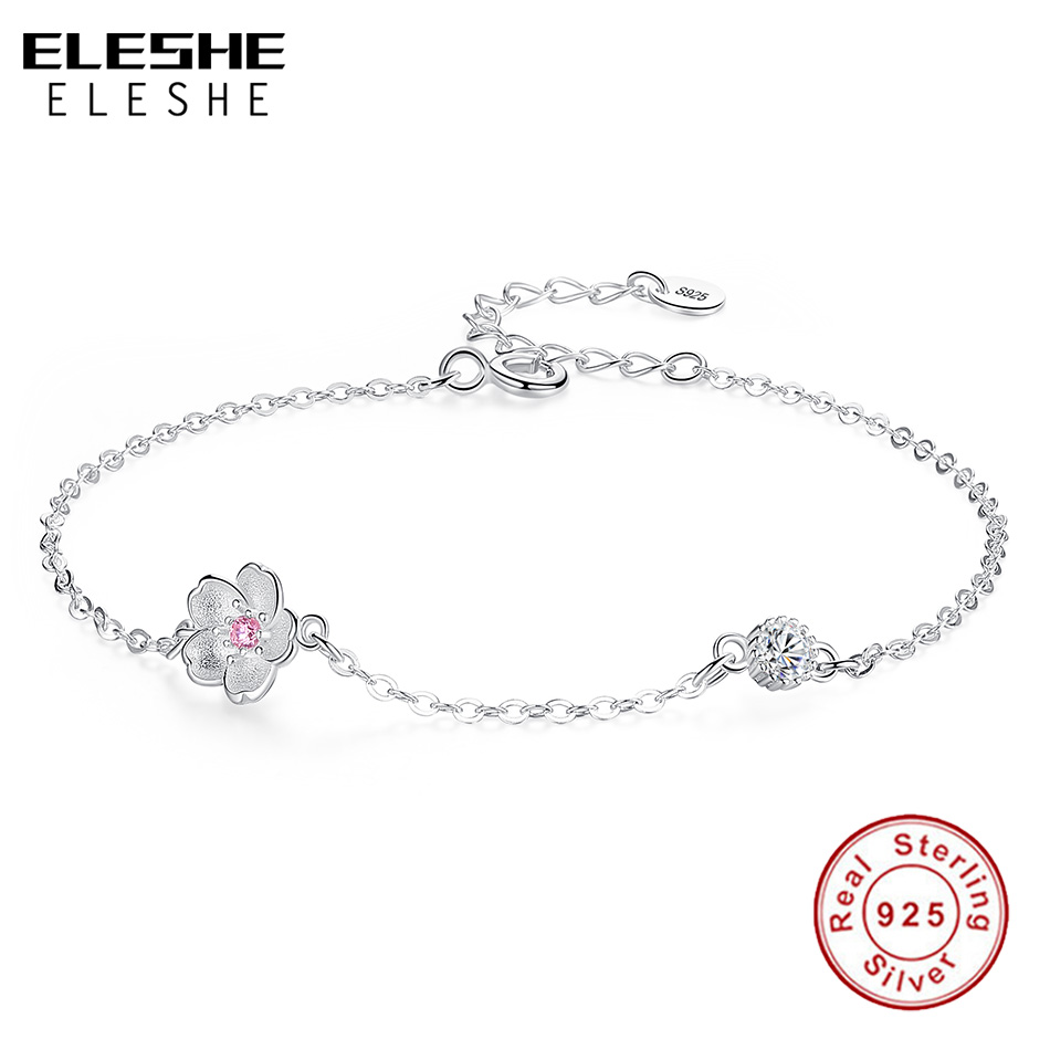 Fashion Flowers Beads Cherry Crystal Charms For 925 Sterling Silver Bracelet Hot