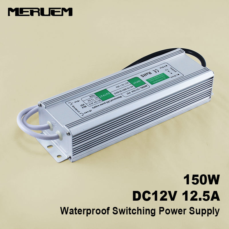 150W 12V 12.5A  Switching power supply  LED Strip Driver  Water Proof IP 67 Input AC90-130V /220-260V 50/60Hz best quality 12v 15a 180w switching power supply driver for led strip ac 100 240v input to dc 12v