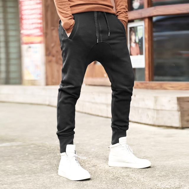 Harem Pants Mens 2017 novo Quadril Hiop mens engrossado suor preto calças de Algodão calças dos homens calças dos homens slim fit casuais calças K1050