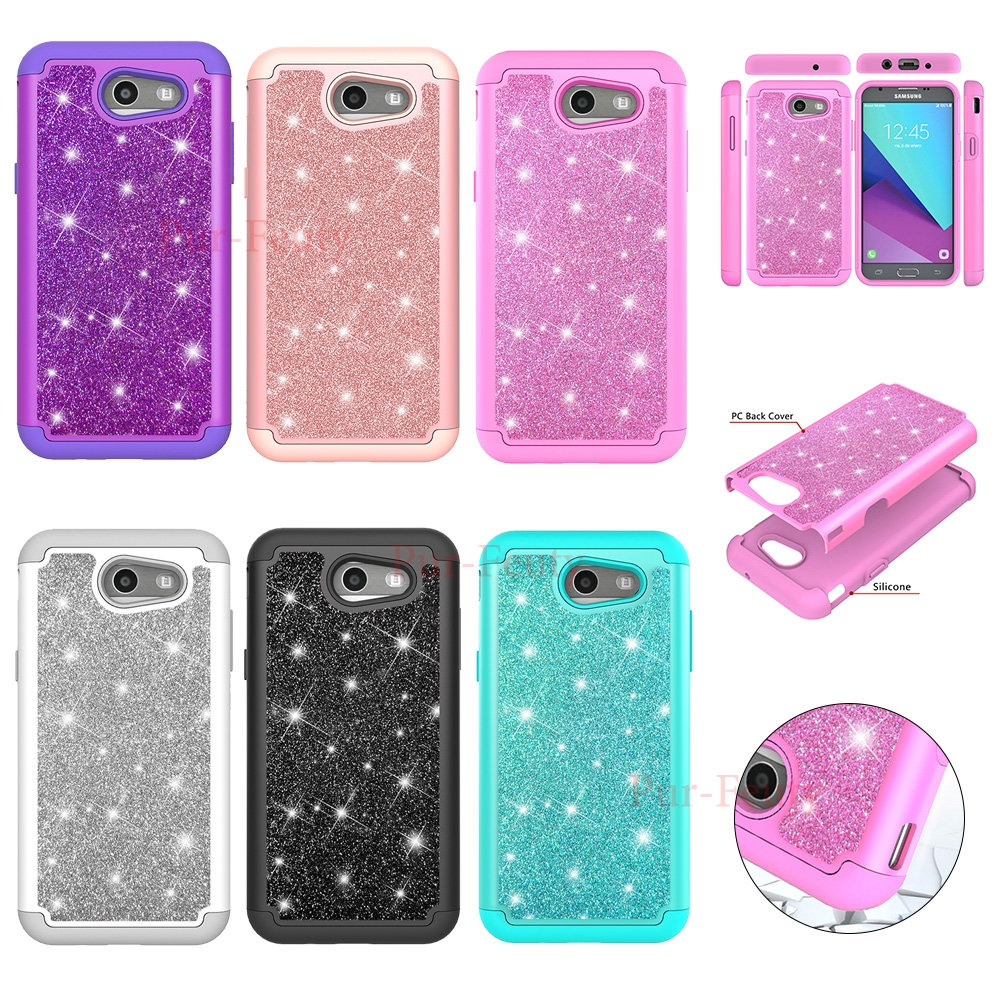 Cases For <font><b>Samsung</b></font> Galaxy J3 2017 <font><b>J330F</b></font>/<font><b>DS</b></font> Bling TPU+PC Cell Luxury Glitter Shockproof cover For <font><b>Samsung</b></font> Galaxy J 3 2018 <font><b>SM</b></font> J337 image